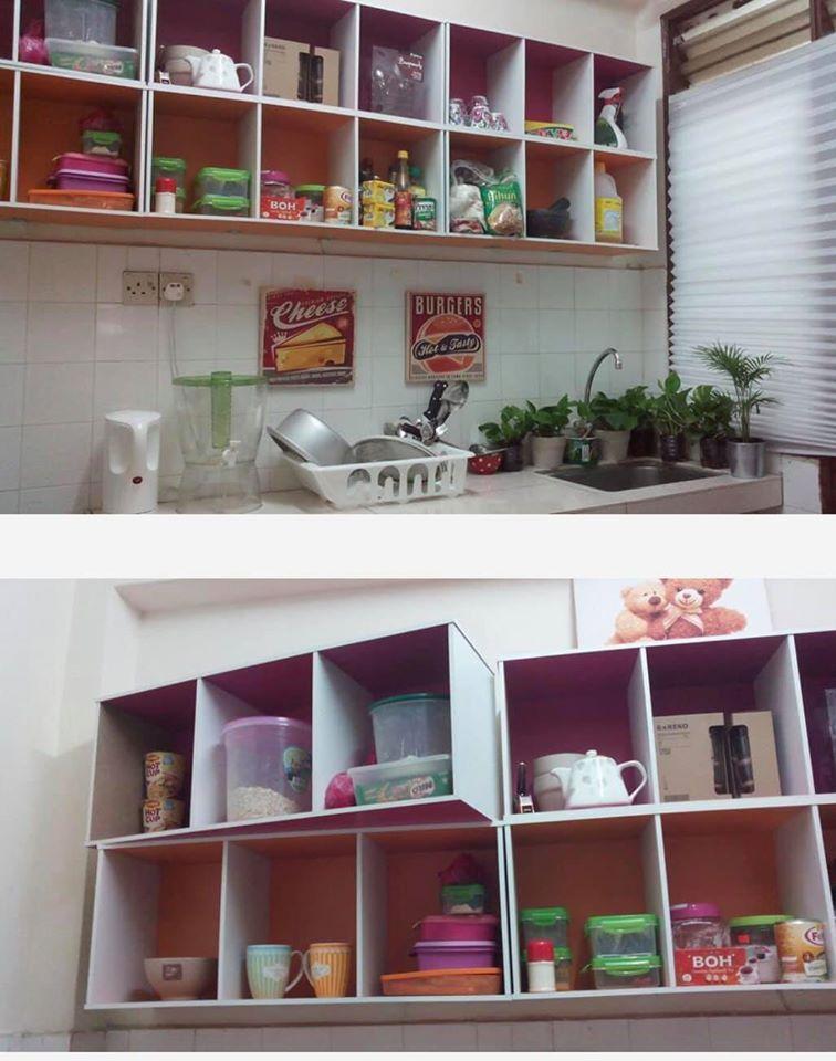Diy Kabinet Dapur Guna Rak Buku Bajet