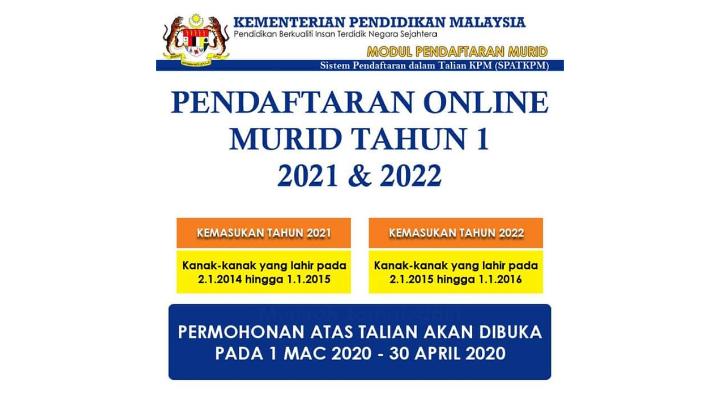 Pendaftaran Online Tahun 1 Akan Dibuka Mulai 1 Mac 2020