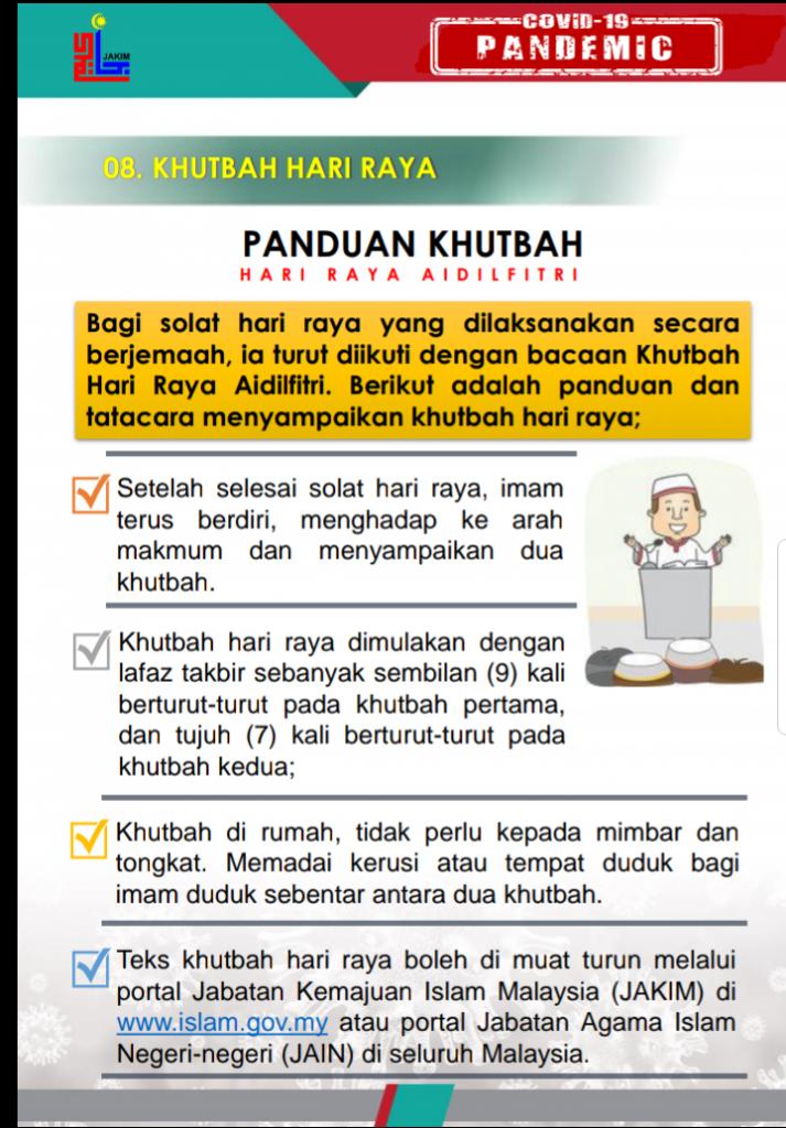 Jakim Kit Panduan Solat Sunat Aidilfitri Di Rumah Teks Khutbah Amalan Sunat Dalam Tempoh Pkpb