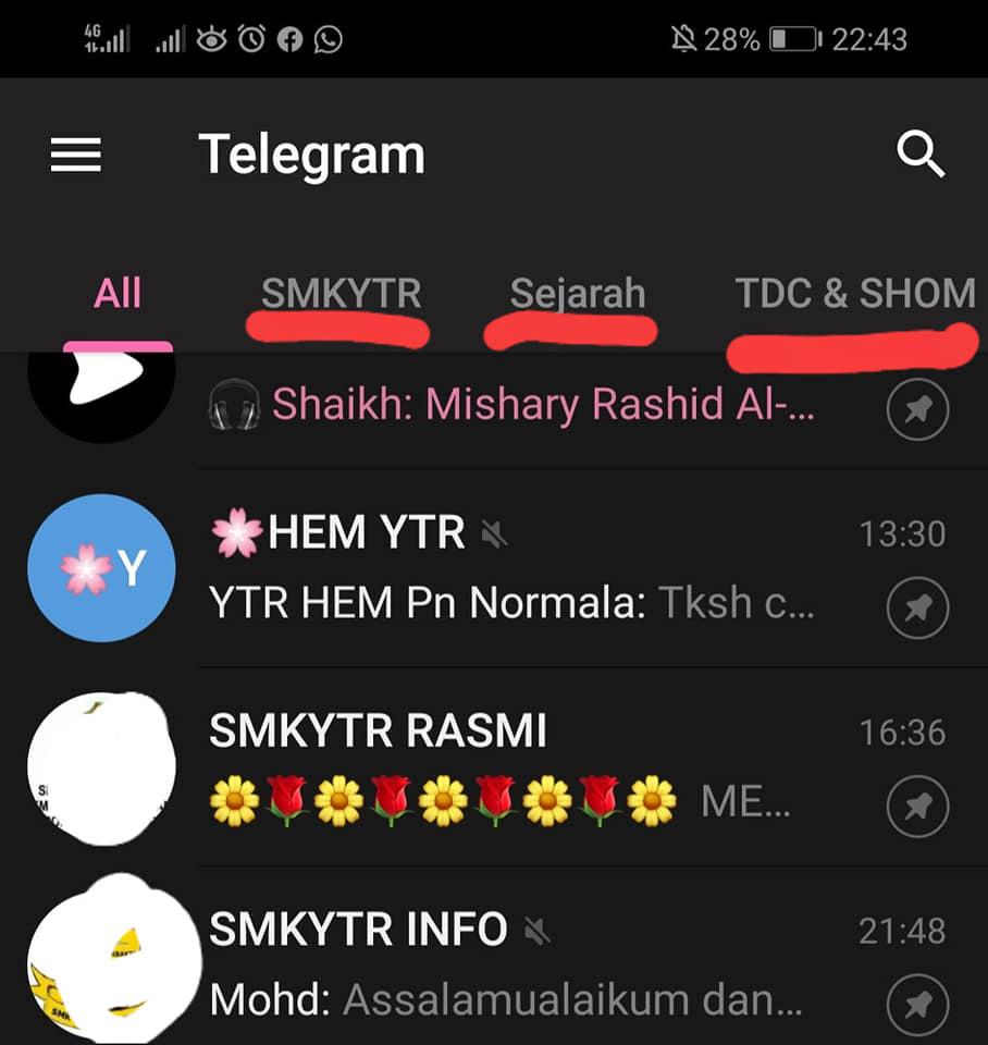 cara buat folder telegram