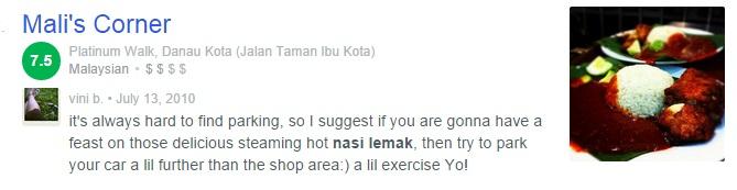 Nasi Lemak Popular di Kuala Lumpur - Nasi Lemak Mali's Corner
