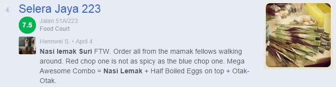 Nasi Lemak Popular di Kuala Lumpur - Nasi Lemak Selera Jaya 223