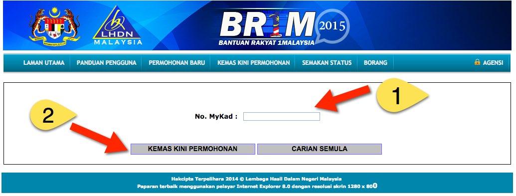 Cara Kemaskini BRIM 2015, Guna Borang e-BR1M Online.