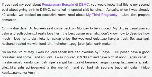 Pengalaman bersalin di DEMC