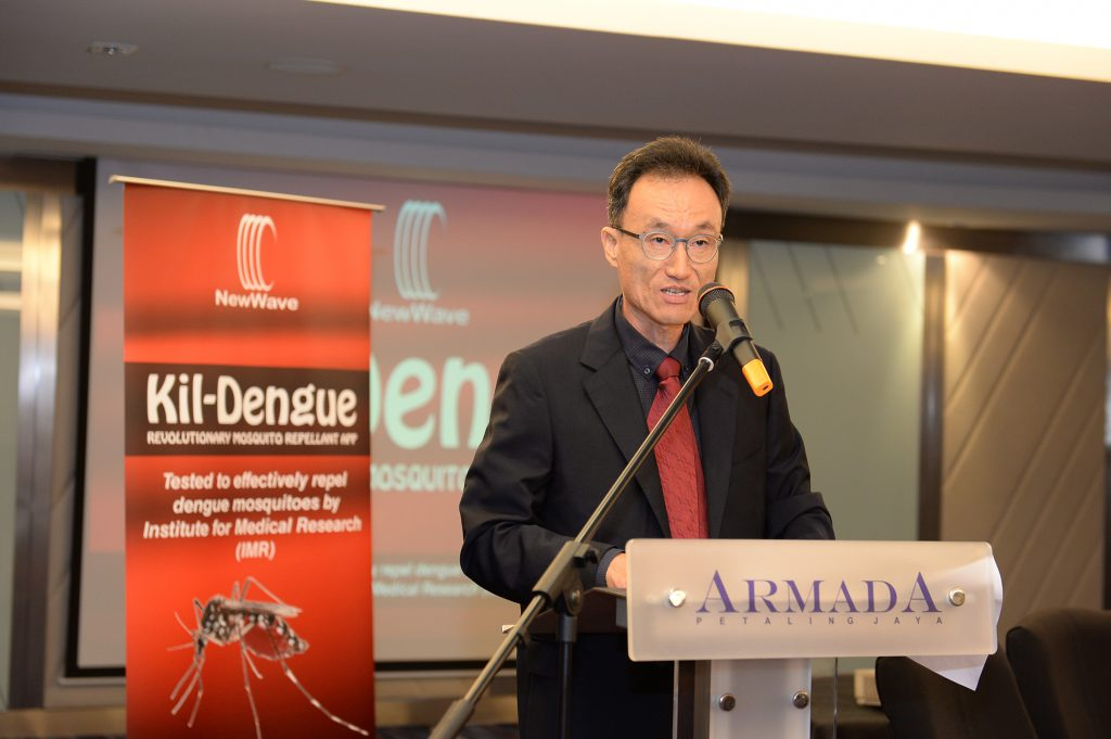John Sung, Chairman of New Wave Comm gave his speech during Kil-Dengue media Launch