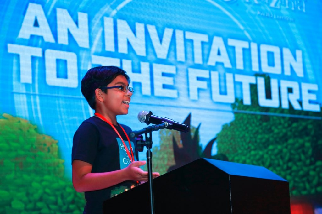 KidZania Congrezz member Lishyen Shischir Indran, 12, from Tenby International School sharing about 'Technology & Me' at the KidZ & Tech launch recently