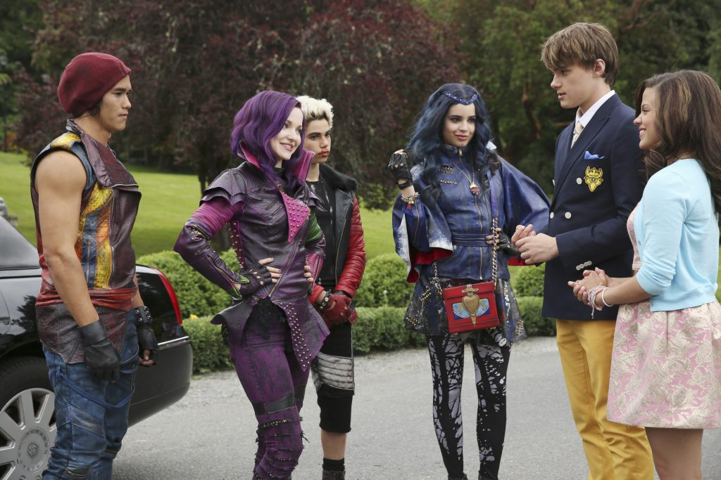 "DESCENDANTS - The teenage sons and daughters of Disney's most infamous villains star in Disney's ""Descendants,"" a live-action movie that - with a knowing wink at traditional fairy tales - fuses castles with classrooms to create a contemporary, music-driven story about the challenges in living up to parental and peer expectations. Made for kids, tweens and families, the movie premieres FRIDAY, JULY 31 (8:00 p.m., ET/PT) on Disney Channel and Friday, July 24 to verified users on the WATCH Disney Channel app and WATCHDisneyChannel.com. (Disney Channel/Jack Rowand) BOOBOO STEWART, DOVE CAMERON, CAMERON BOYCE, SOFIA CARSON, MITCHELL HOPE, SARAH JEFFERY"