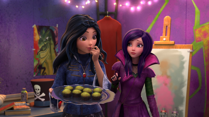 "DESCENDANTS: WICKED WORLD - ""Evie's Explosion of Taste"" - Evie begs Mal to help her fix the cupcakes she baked for the Heroes and Heroines Festival at Auradon Prep. But instead, their sweet intentions end up in an explosion of taste! This episode of ""Descendants: Wicked World"" premieres Friday, September 18 (8:28 PM PM ET/PT) on Disney Channel. (Disney Channel) EVIE, MAL"