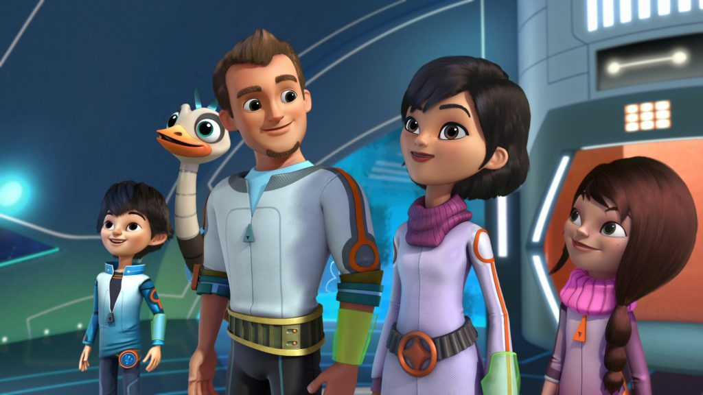 "MILES FROM TOMORROWLAND - ""Runaway Shuttle"" - Miles and Merc rescue a trapped pilot before his ship crashes into Jupiter's moon Io. This episode premieres on Friday, February 6 at 9:00 a.m. ET/PT on Disney Channel. (Disney Junior) MILES, MERC, LEO, PHOEBE, LORETTA"