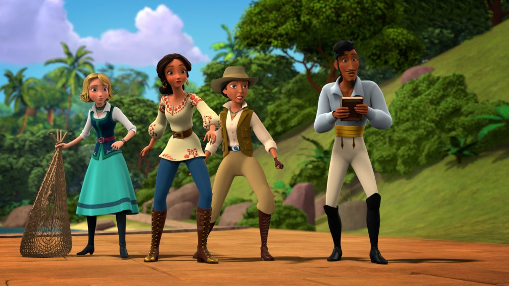 "ELENA OF AVALOR - ""Finders Leapers"" - During an archeological dig, Esteban accidentally releases a mischievous duende, a magical elf-like creature based on Latino folklore, who sets out on a mission to unleash hundreds of other duendes on Avalor. This episode of ""Elena of Avalor"" airs Friday, September 23 (7:30 - 8:00 P.M. EDT) on Disney Channel. (Disney Channel) NAOMI, ELENA, PROFESSOR MENDOZA, ESTEBAN"