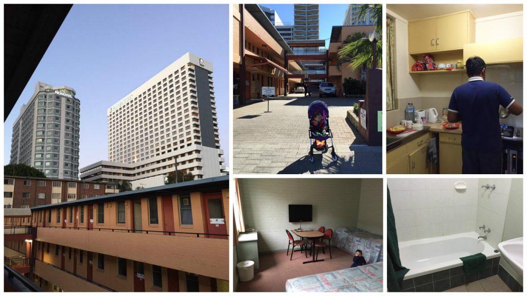Dari kiri: View Hotel Novotel dari apartment kami, gambar anak kami di hadapan apartment, dapur, bilik tidur, dan bilik air.