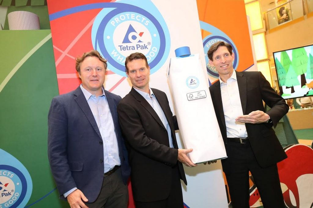 Alistair Monument, FSC Asia Pacific Regional Director; Brian may, Managing Director of Tetra Pak Malaysia, Singapore and the Philippines; and Jeffrey Fielkow, Vice President – Environment, Tetra Pak Asia, posing after the launching of the Pack That Grows Back event