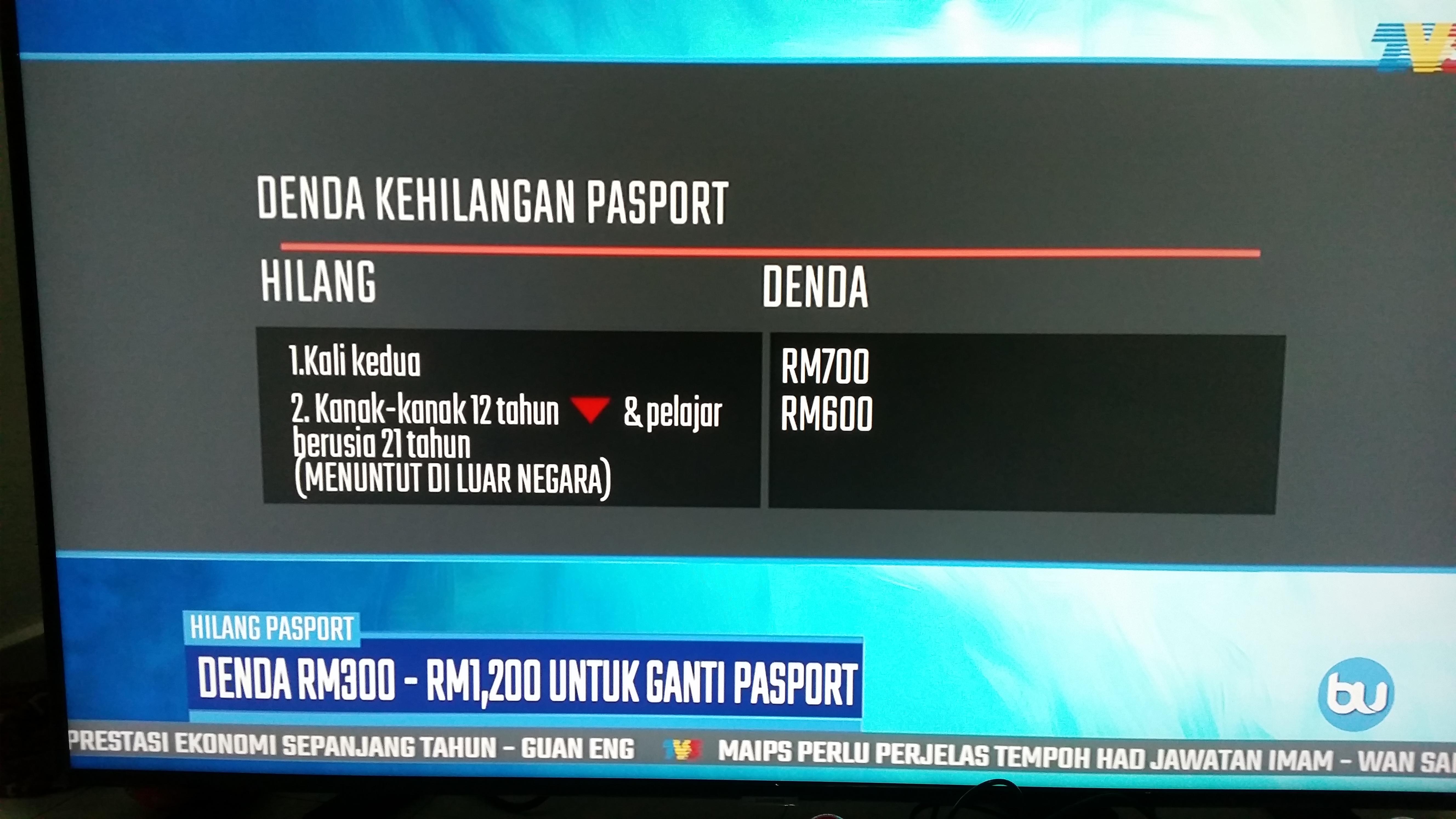 Denda hilang pasport malaysia